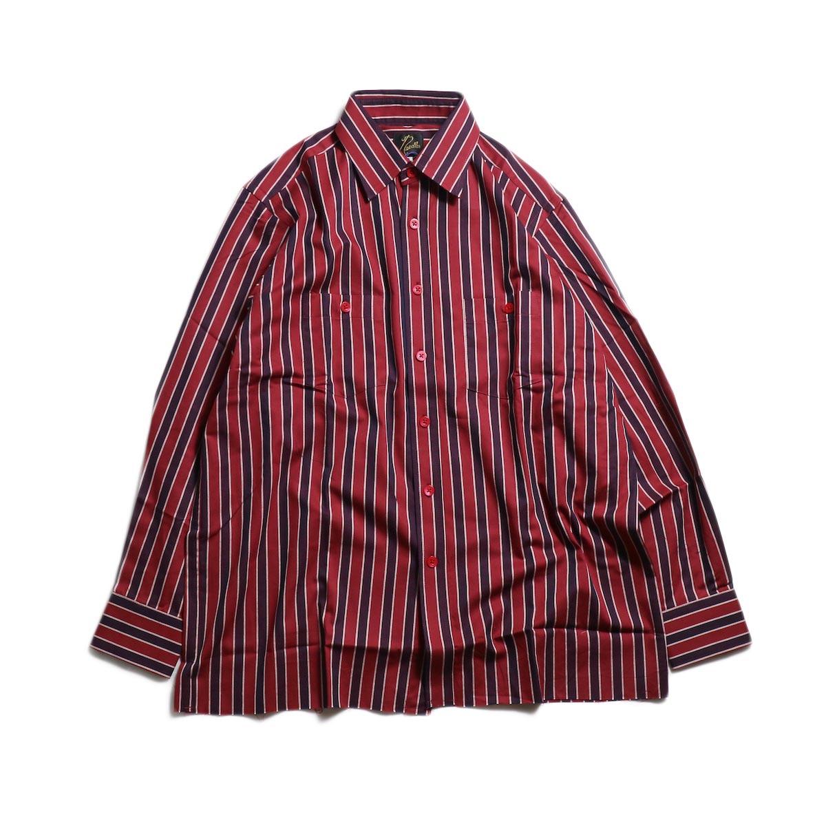 Needles / Cut-Off Bottom Regular Collar Shirt -Cotton Twill Stripe (Red) 正面