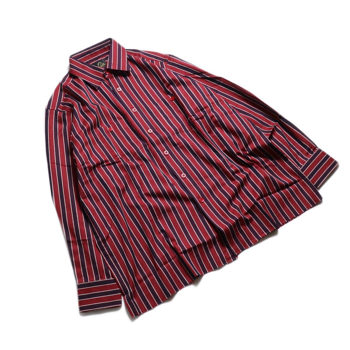 Needles / Cut-Off Bottom Regular Collar Shirt -Cotton Twill Stripe (Red) 全体