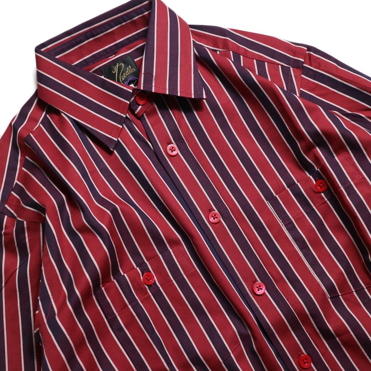 Needles / Cut-Off Bottom Regular Collar Shirt -Cotton Twill Stripe (Red) 襟