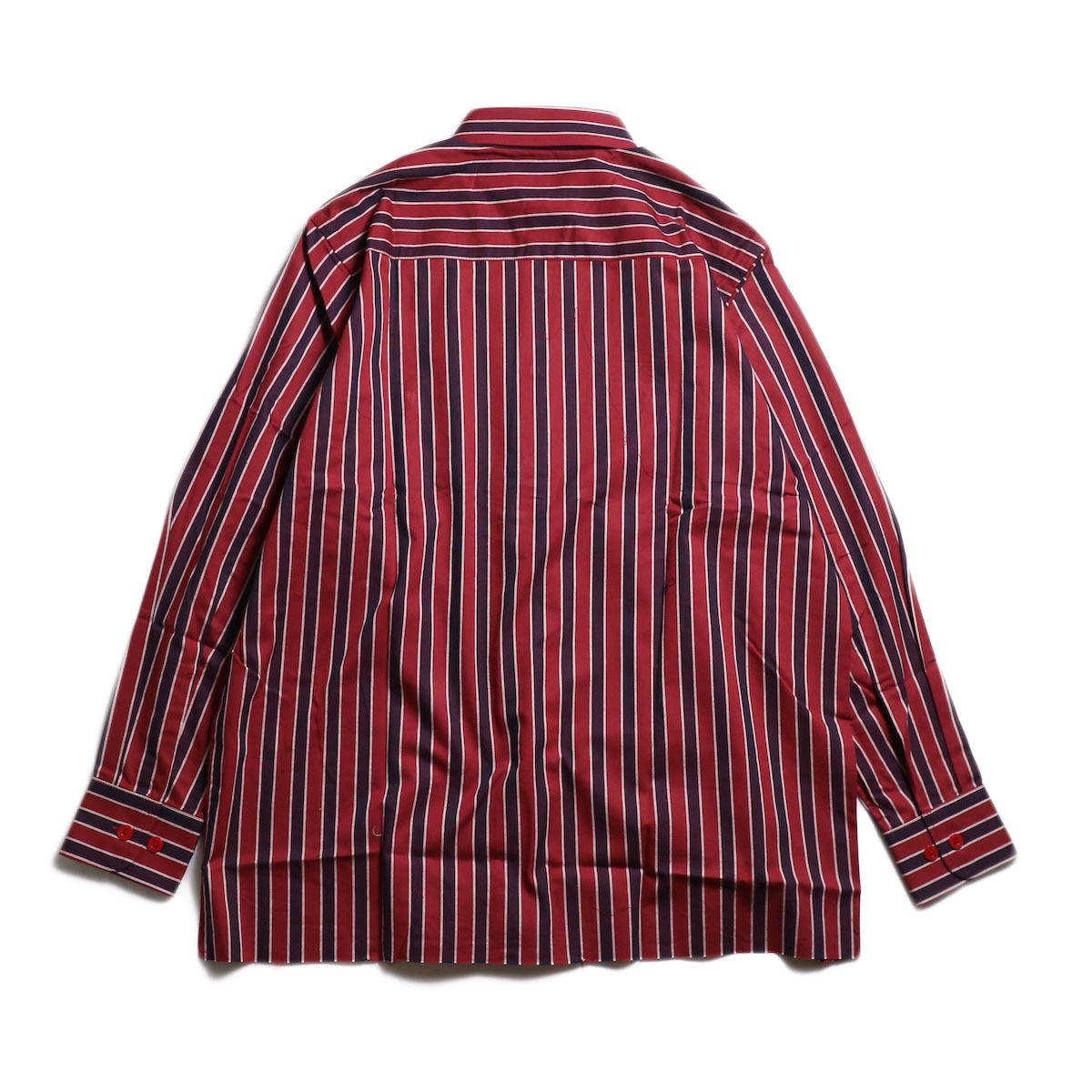 Needles / Cut-Off Bottom Regular Collar Shirt -Cotton Twill Stripe (Red) 背面