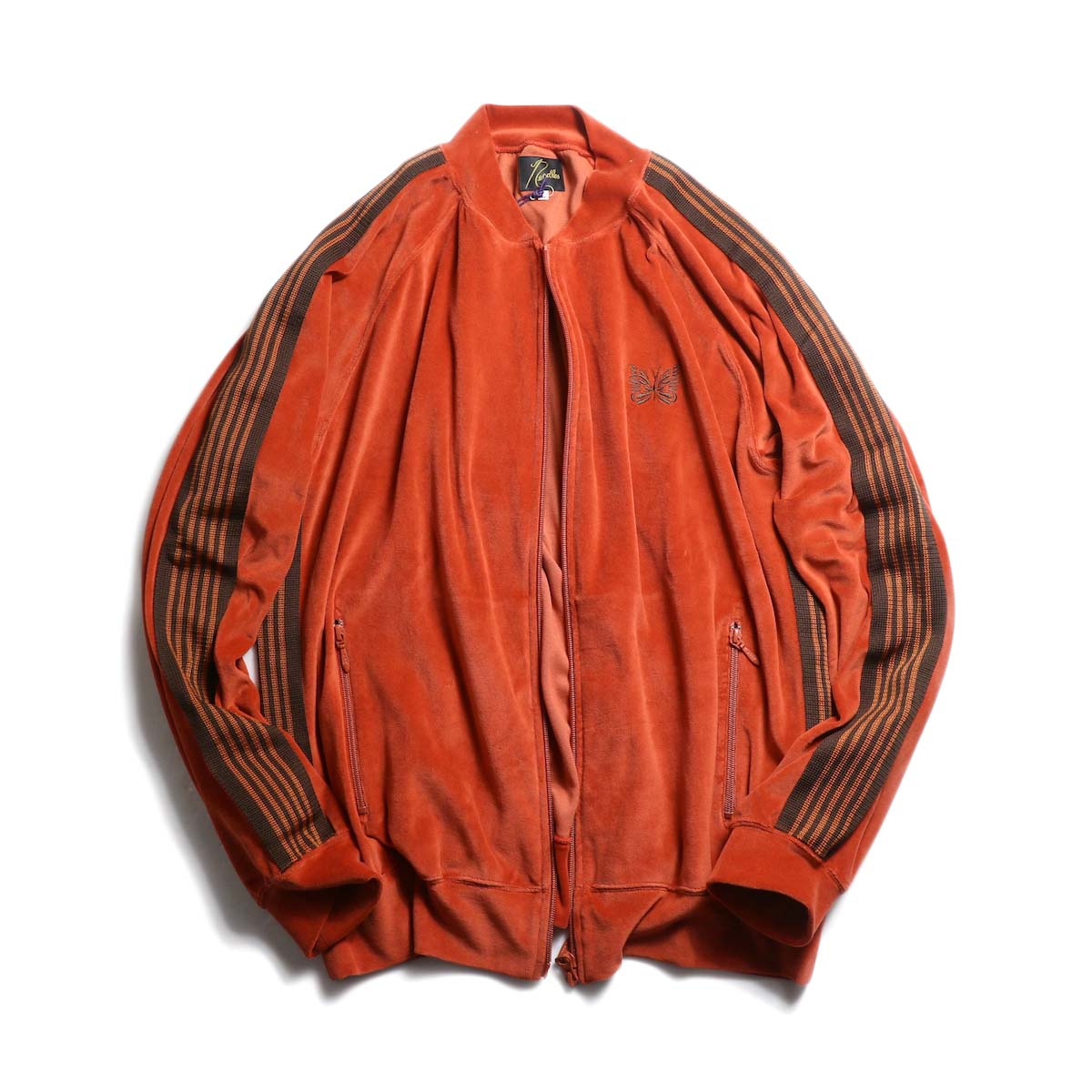 Needles / Rib Collar Track Jacket -c/pe Velour (Brick)
