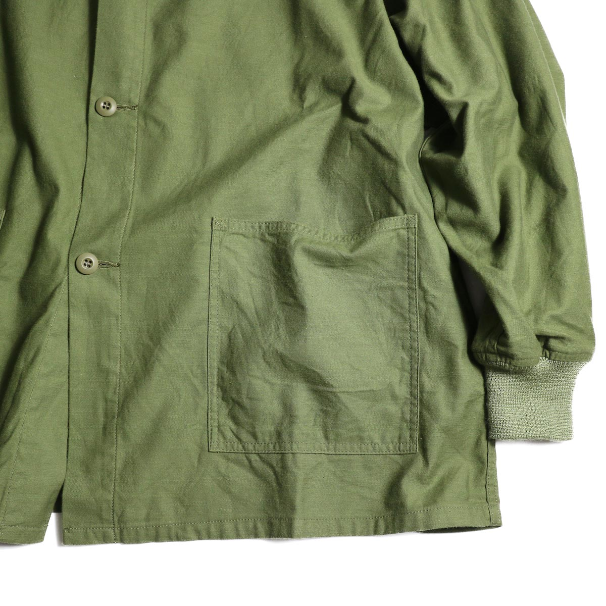 Needles / S.C. ARMY SHIRT - BACK SATEEN (Olive)リブ、ポケット