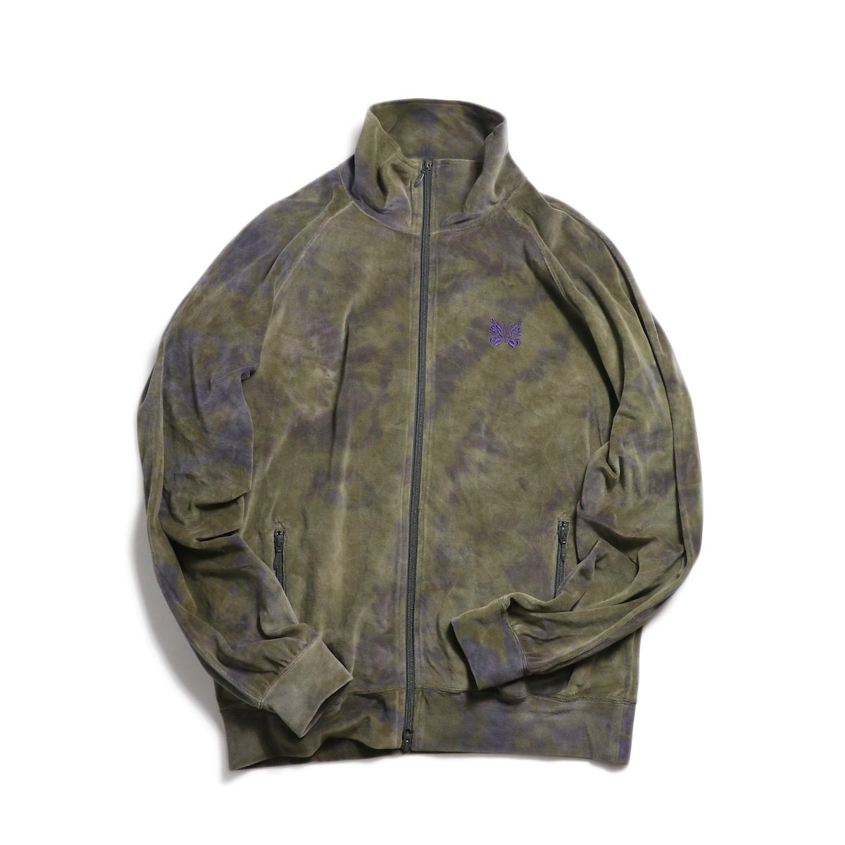 Needles / Track Jacket - C/Poly Velour / Uneven Dye (Olive)
