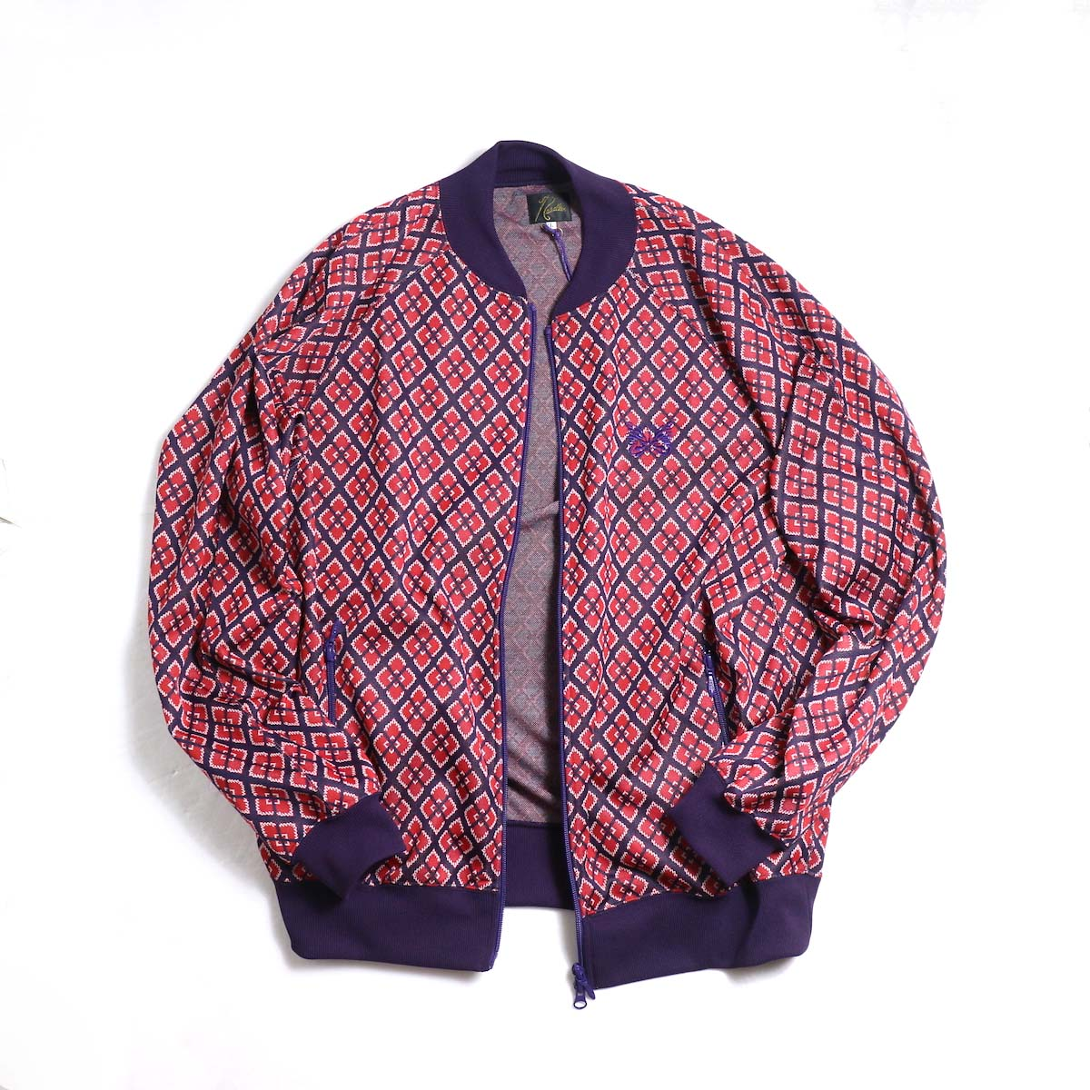 Needles / Rib Collar Track Jacket -Poly Jacquard (Diamond)正面