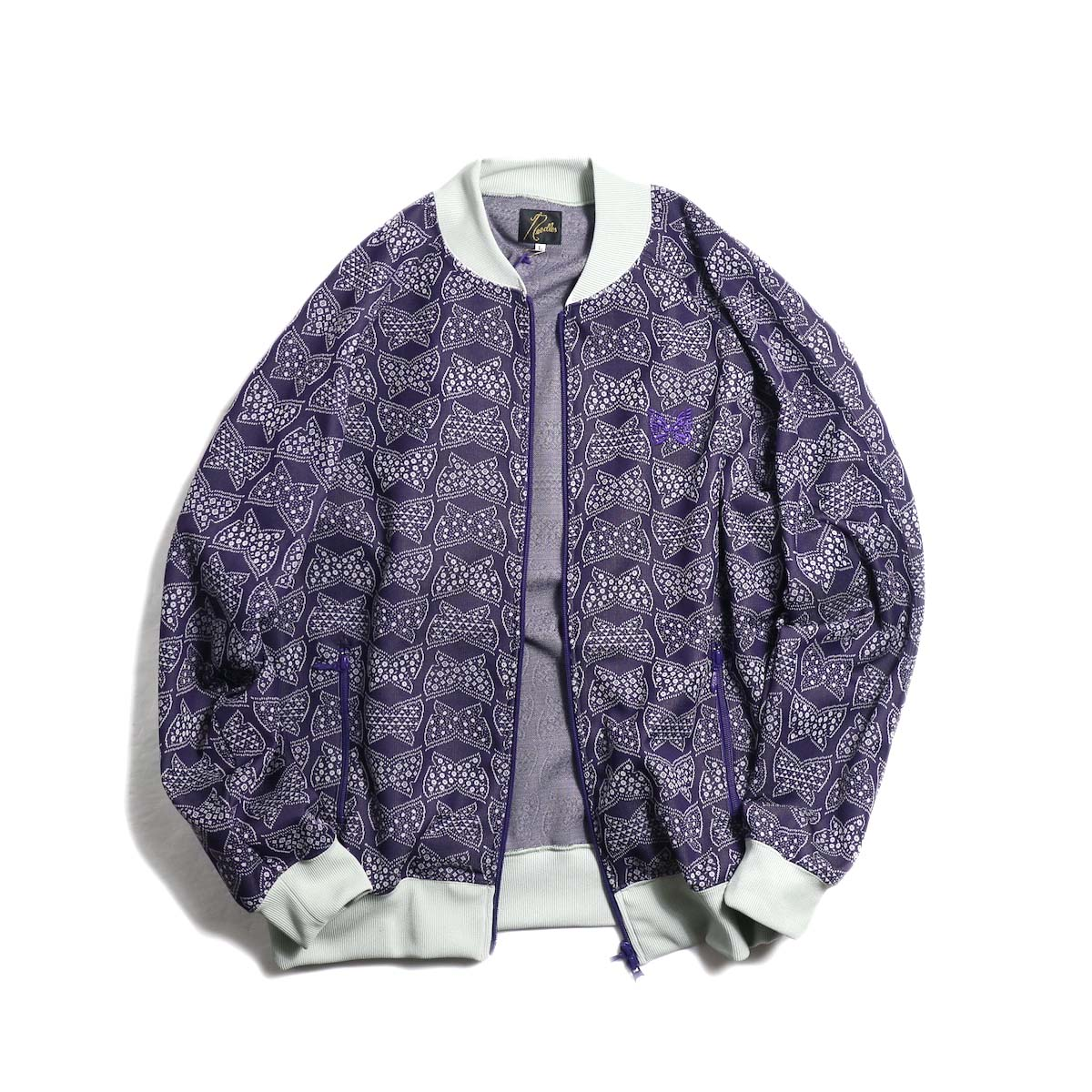Needles / Rib Collar Track Jacket -Poly Jacquard (Papillon)