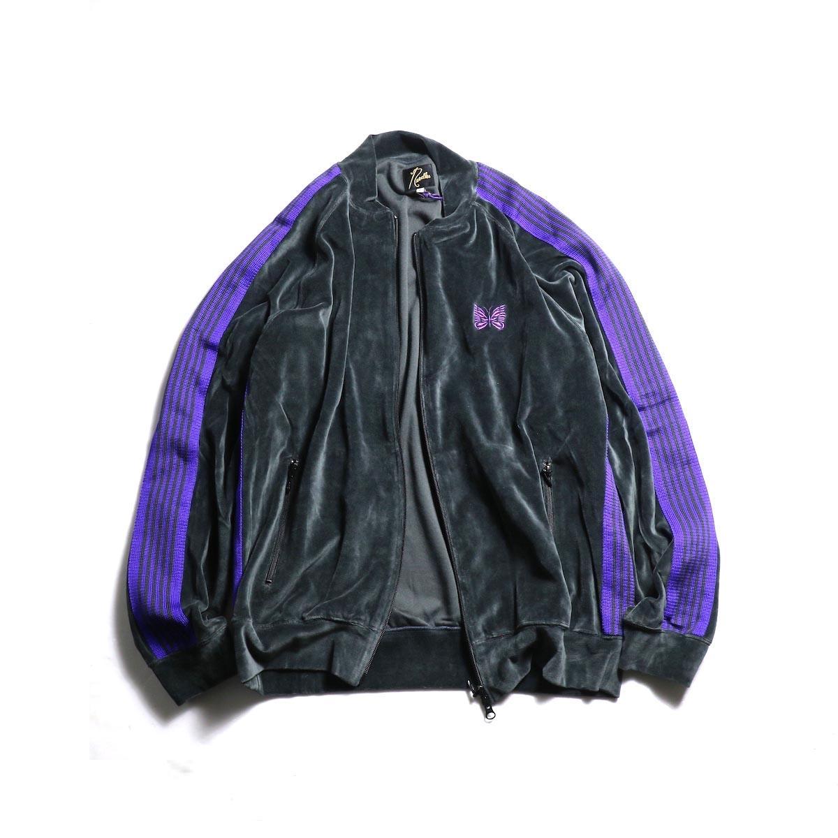 Needles / Rib Collar Track Jacket -C/Pe Velour (Charcoal)
