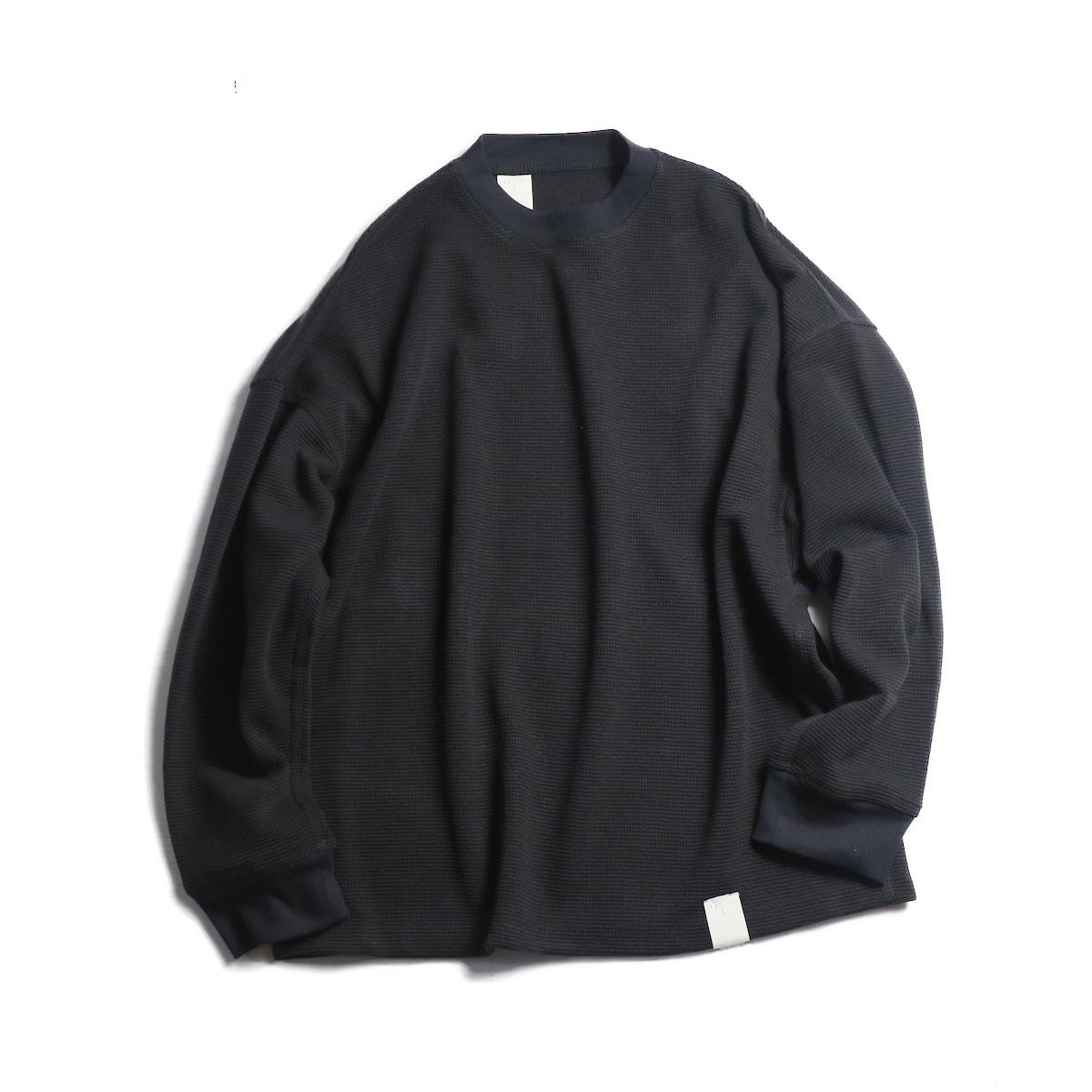 N.HOOLYWOOD / 182-CS07-013-pieces WAFFLE SWEAT CUT SEW  -Black