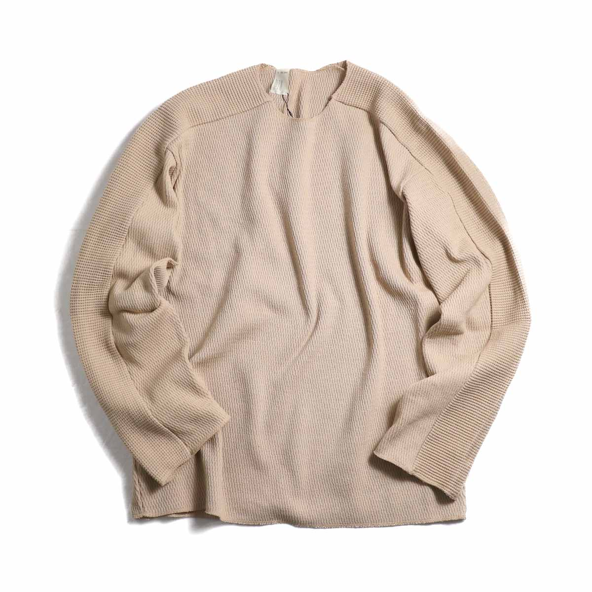 N.HOOLYWOOD / 191-CS18-052 Line Long Sleeve Thermal Tee -Beige