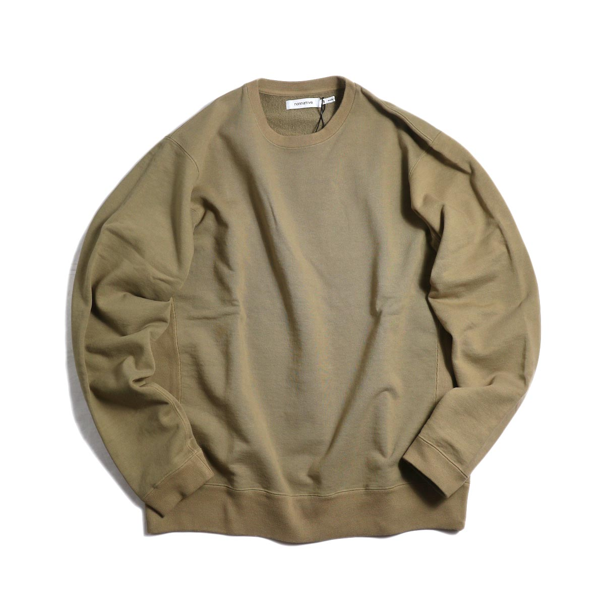 nonnative / COACH CREW PULLOVER COTTON SWEAT OVERDYED -Beige