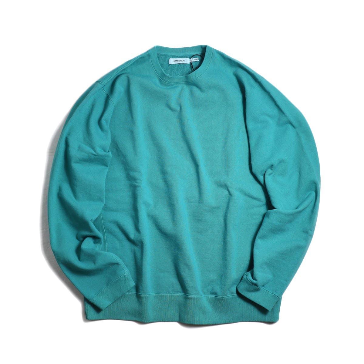 nonnative / COACH CREW PULLOVER COTTON SWEAT OVERDYED -Emerald