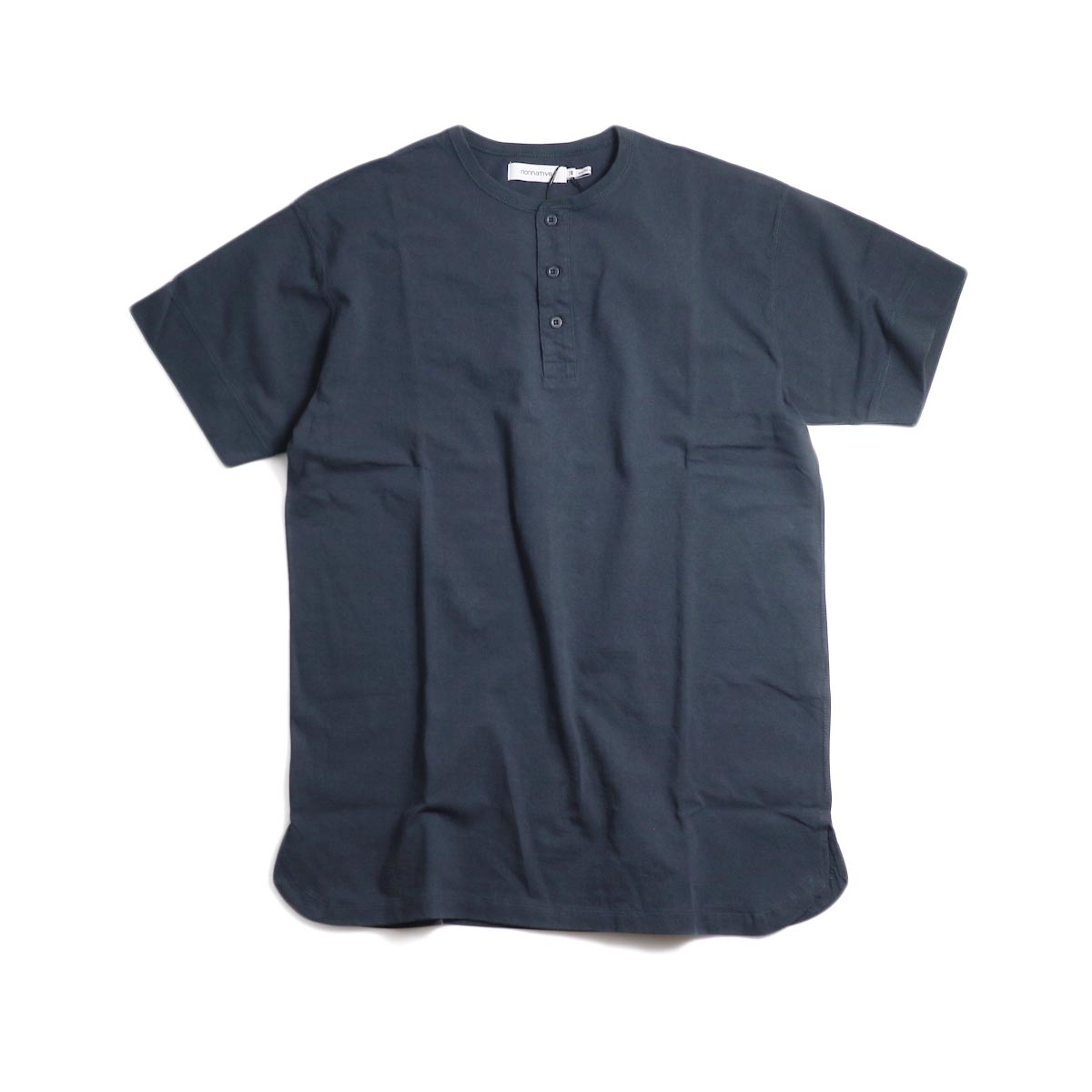 nonnative / DWELLER HENLEY NECK S/S TEE COTTON JERSEY HEAVY WEIGHT -Charcoal