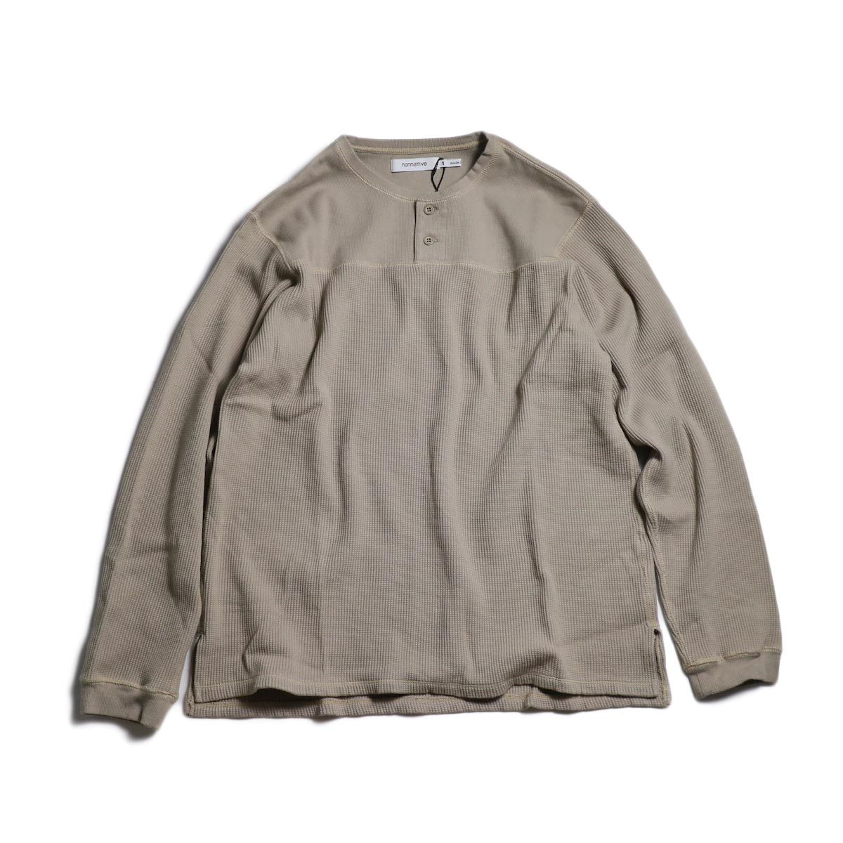 nonnative / HUNTER HENLEY NECK L/S TEE C/P THERMAL -Beige