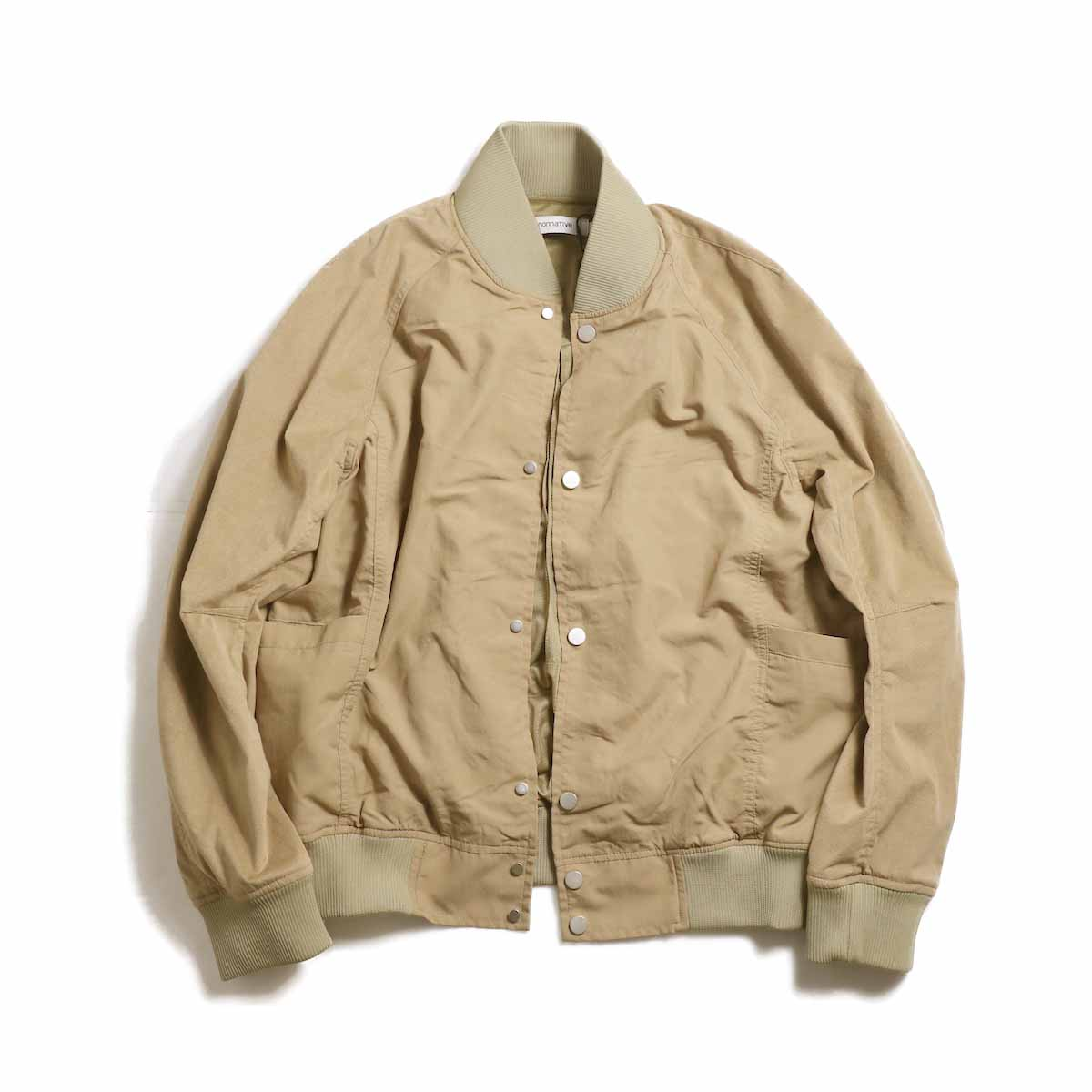 nonnative / EDUCATOR BLOUSON NYLON TAFFETA WITH ULTRASUEDE -Beige