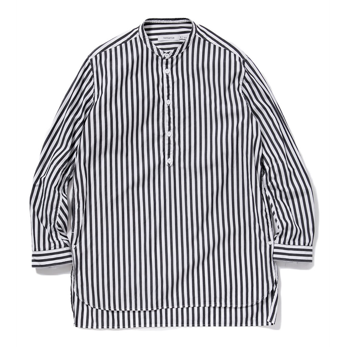 nonnative / OFFICER PULLOVER SHIRT COTTON BROAD LONDON STRIPE -BLACK