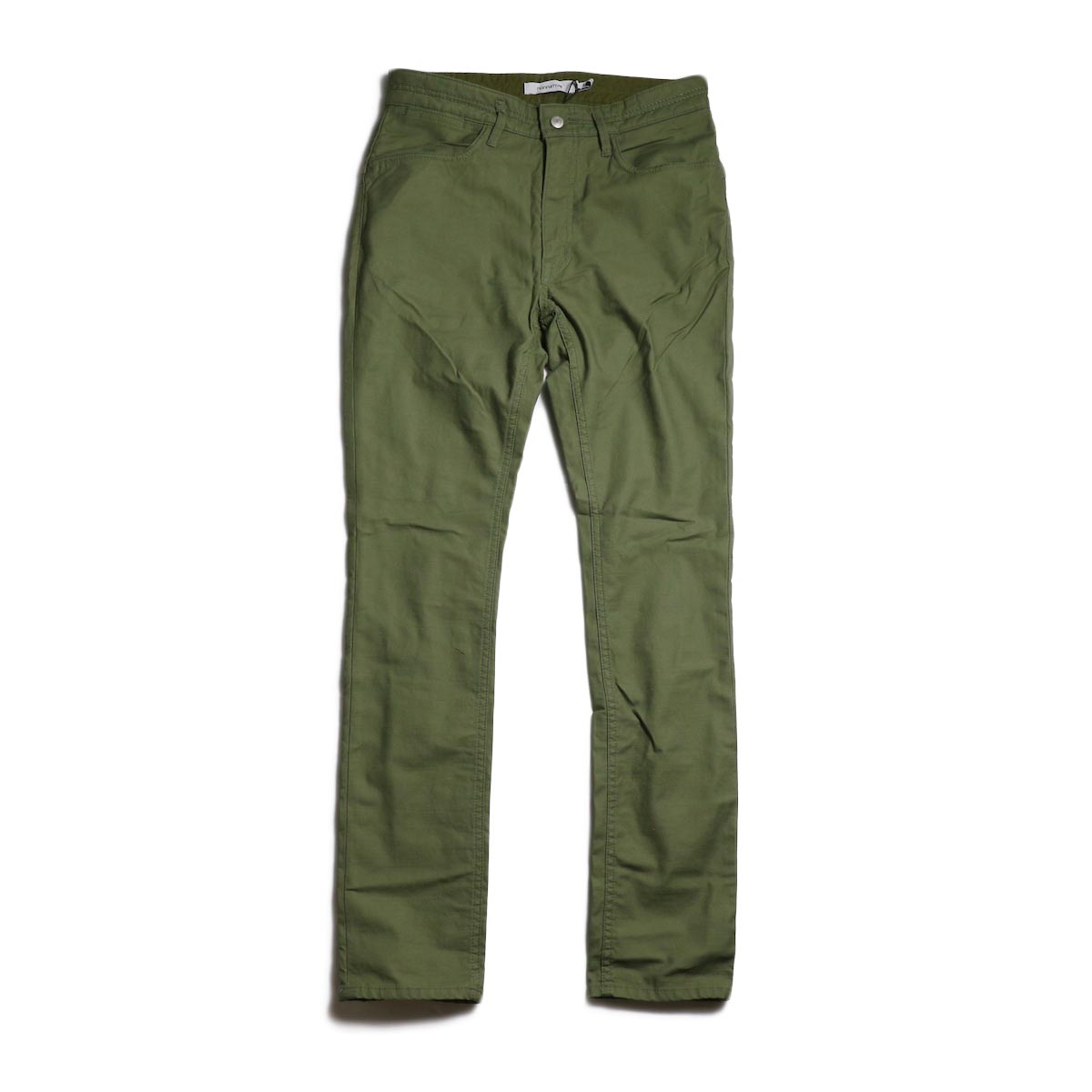 nonnative / DWELLER 5P JEANS DROPPED FIT C/P BACK SATIN STRETCH -Olive 正面