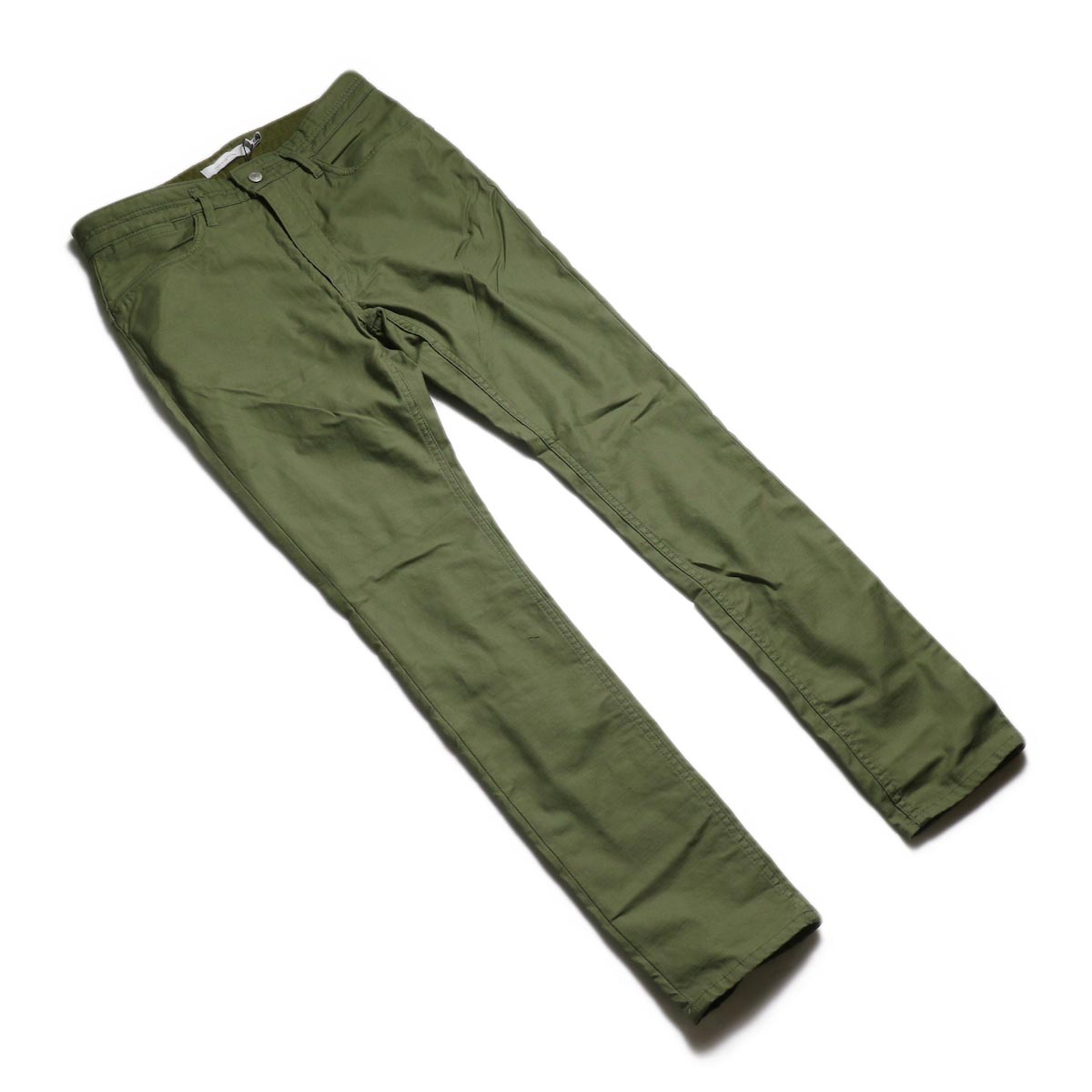 nonnative / DWELLER 5P JEANS DROPPED FIT C/P BACK SATIN STRETCH -Olive 全体