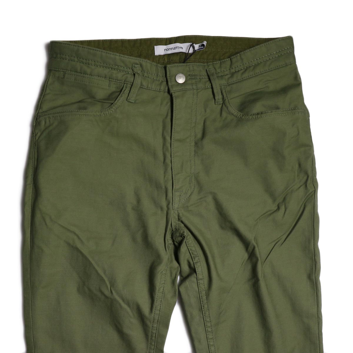 nonnative / DWELLER 5P JEANS DROPPED FIT C/P BACK SATIN STRETCH -Olive ウエスト