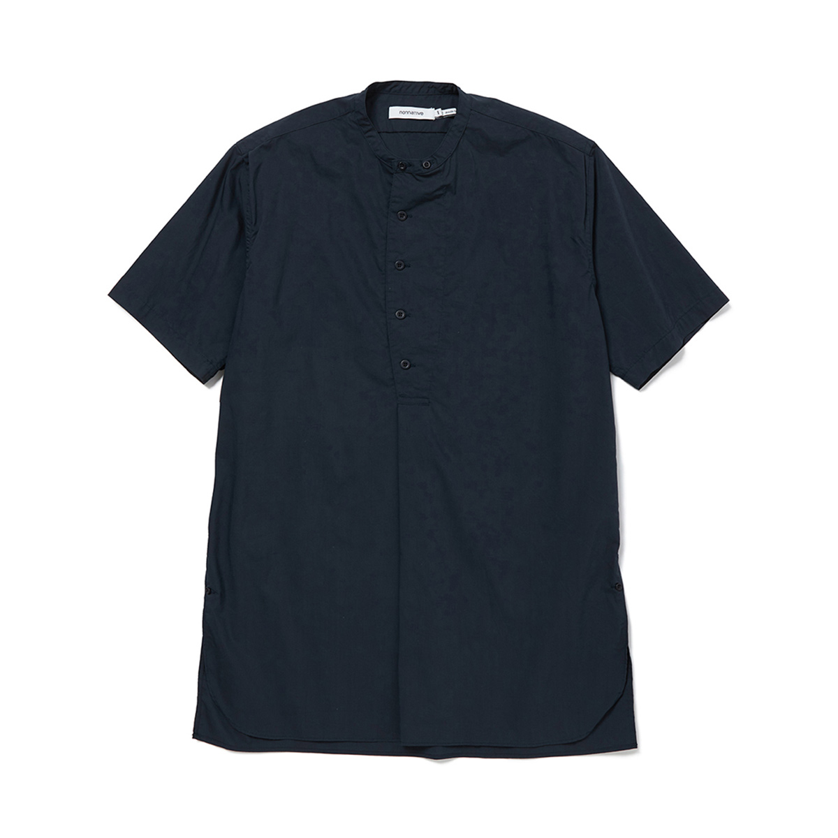 nonnative / SCIENTIST PULLOVER LONG SHIRT S/S C/P TYPEWRITER STRETCH COOLMAX -Navy