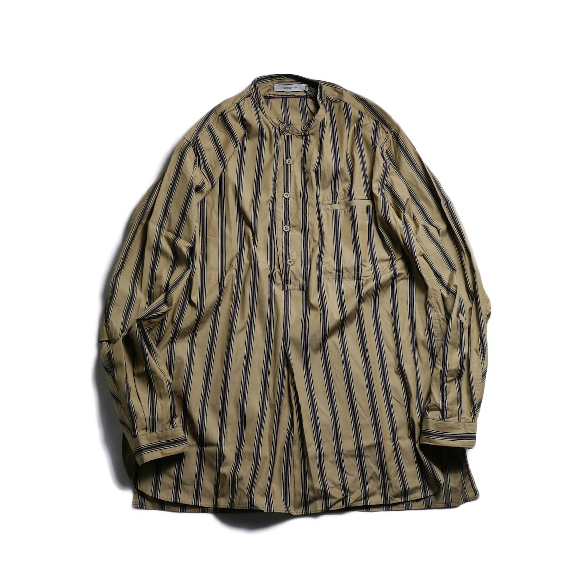nonnative / SCIENTIST PULLOVER SHIRT COTTON SATIN MULTI STRIPE -Beige