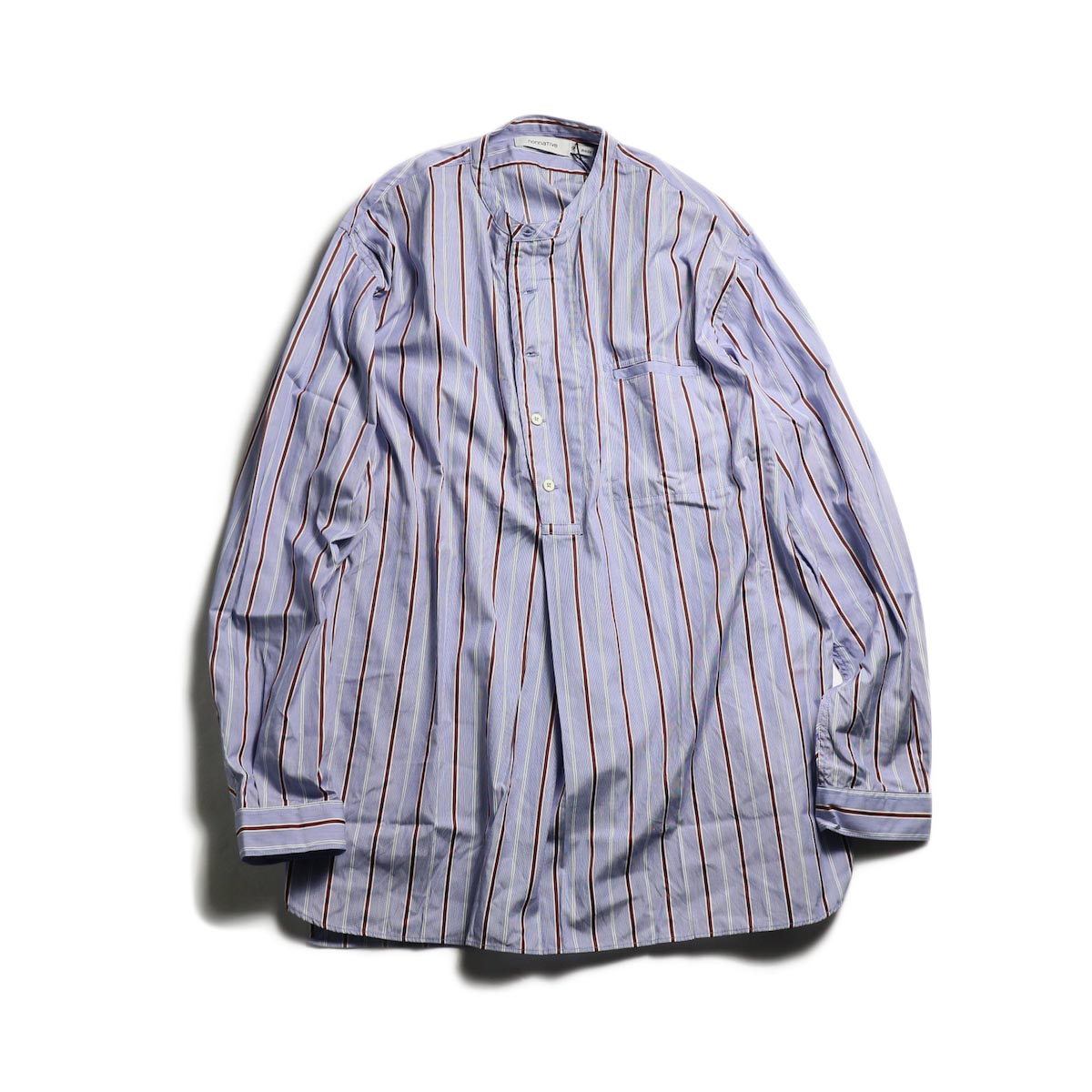 nonnative / SCIENTIST PULLOVER SHIRT COTTON SATIN MULTI STRIPE -Blue