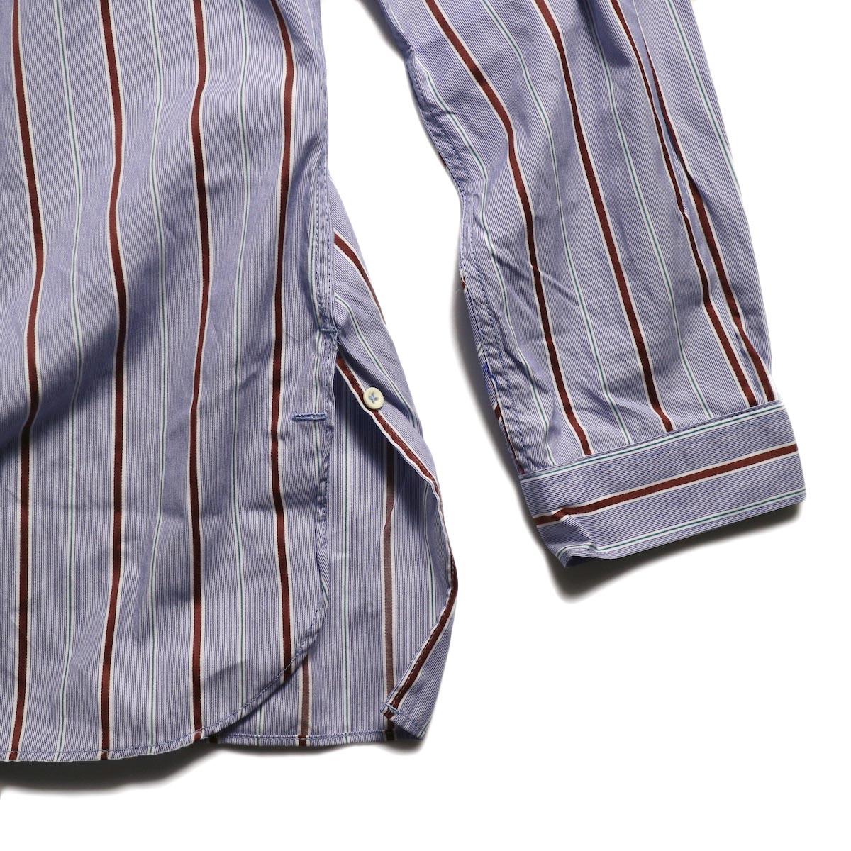 nonnative / SCIENTIST PULLOVER SHIRT COTTON SATIN MULTI STRIPE -Blue 裾