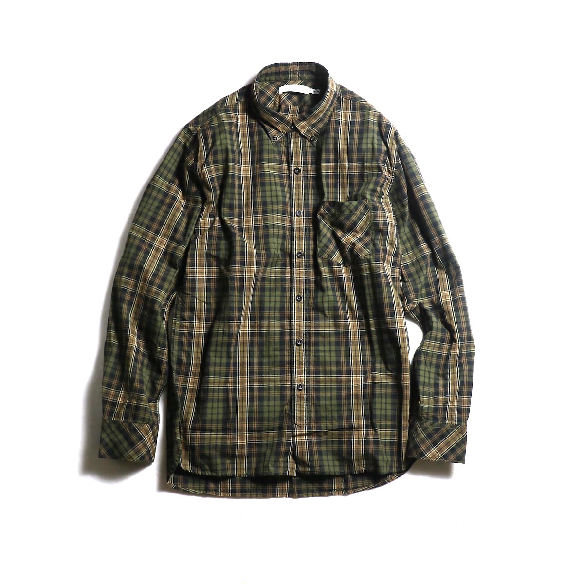 nonnative / DWELLER B.D. SHIRT COTTON TYPEWRITER PLAID (Beige)