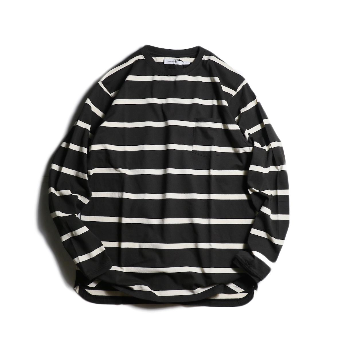 nonnative / DWELLER L/S TEE COTTON JERSEY BORDER (Black)