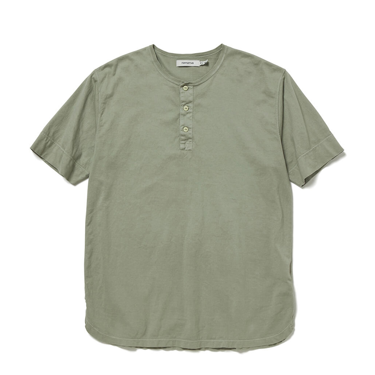 nonnative / TROOPER HENLEY NECK S/S TEE COTTON JERSEY OVERDYED (Gray)