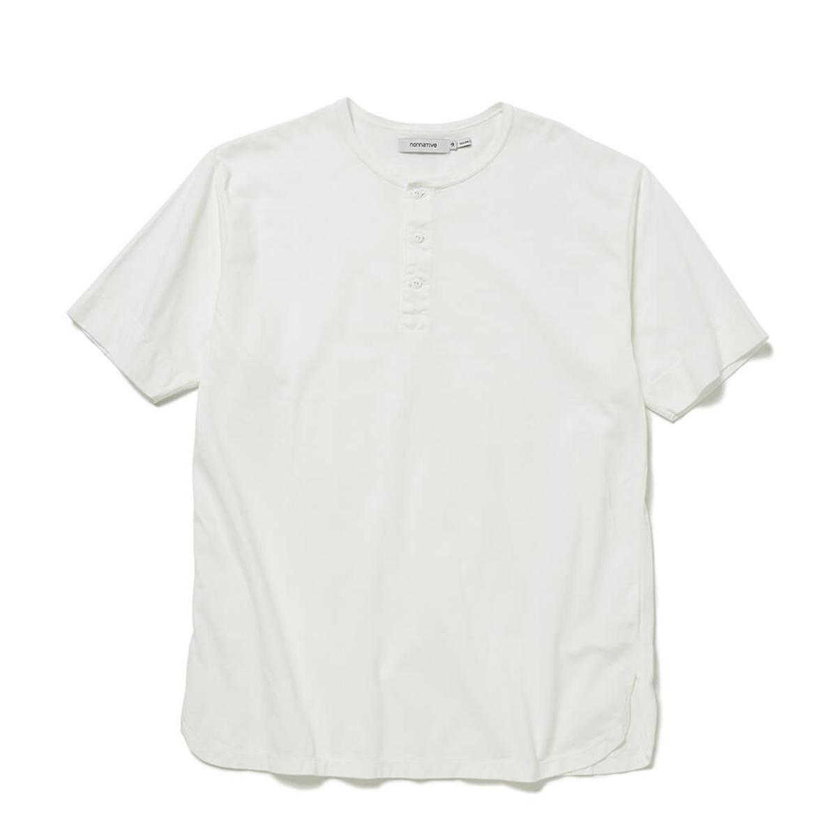 nonnative / TROOPER HENLEY NECK S/S TEE COTTON JERSEY OVERDYED (White)