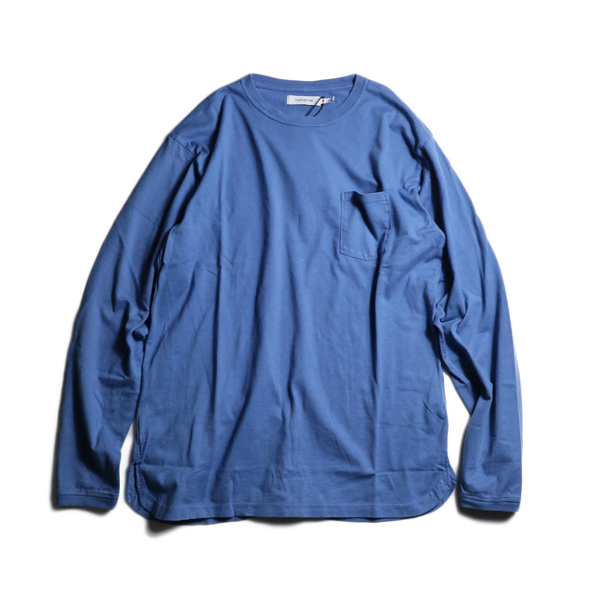 nonnative / DWELLER L/S TEE COTTON JERSEY OVERDYED (Blue)