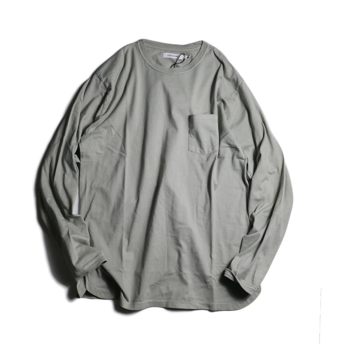 nonnative / DWELLER L/S TEE COTTON JERSEY OVERDYED (Gray)