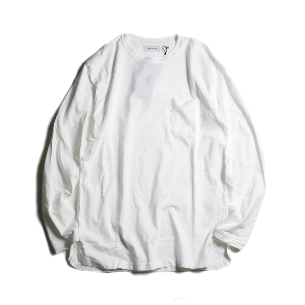 nonnative / DWELLER L/S TEE COTTON JERSEY OVERDYED (White)