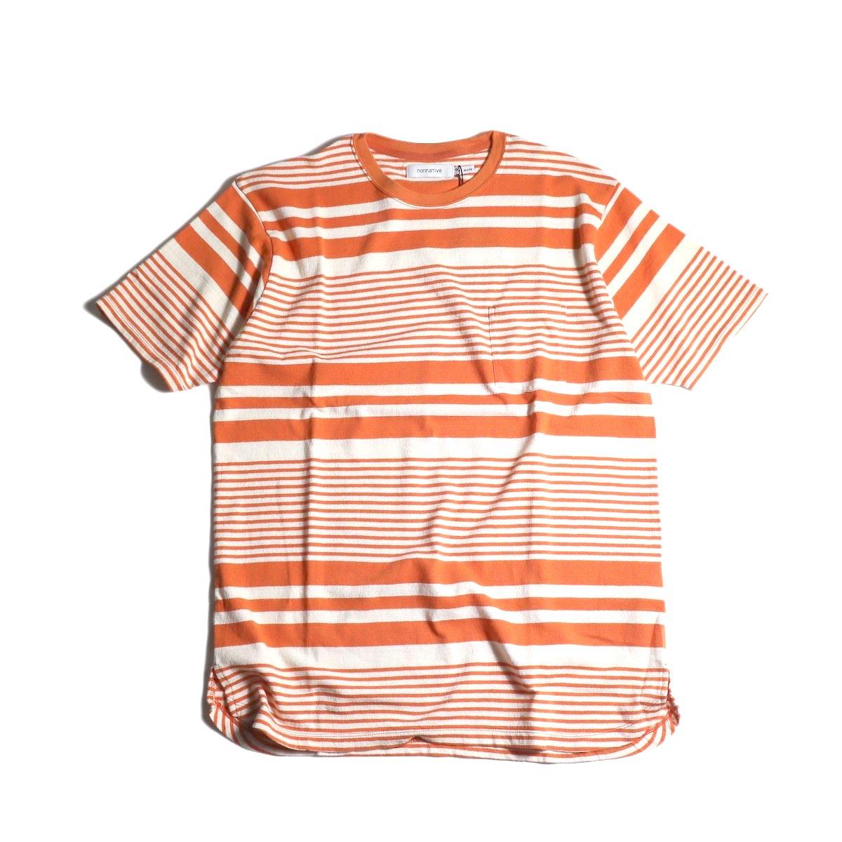nonnative / DWELLER S/S TEE COTTON JERSEY BORDER (Orange)