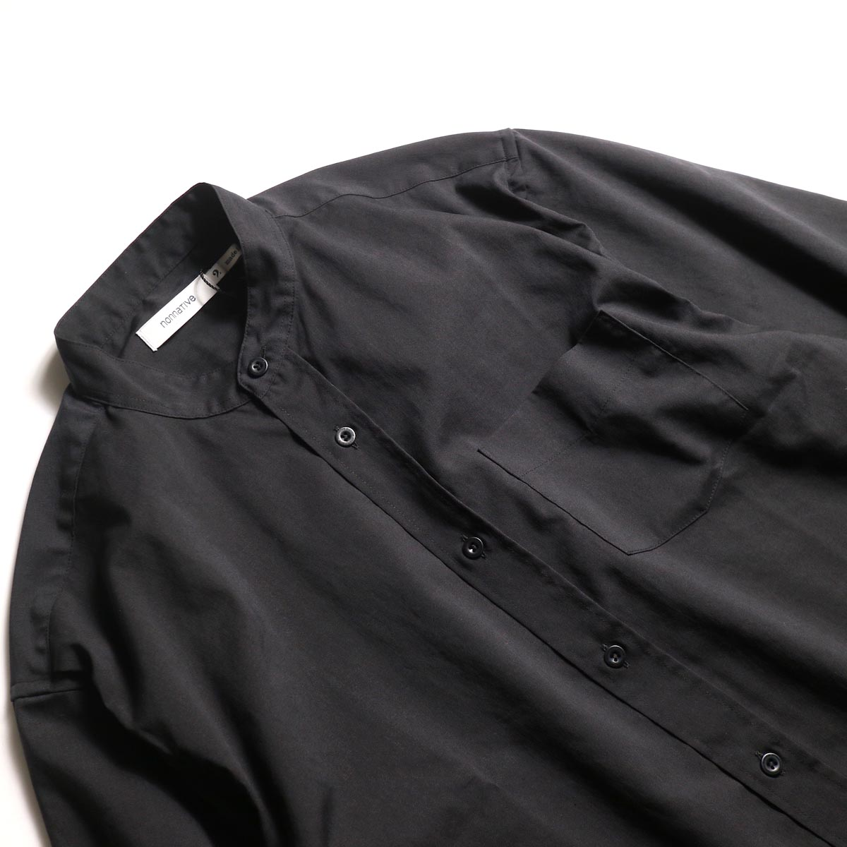 nonnative / OFFICER SHIRT Q/S RELAXED FIT P/L WEATHER STRETCH COOLMAX® (Black)バンドカラー