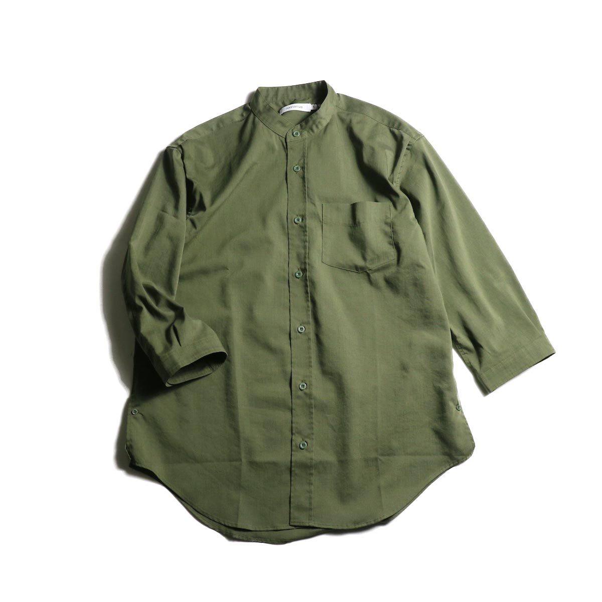 nonnative / OFFICER SHIRT Q/S RELAXED FIT P/L WEATHER STRETCH COOLMAX® (Olive)正面