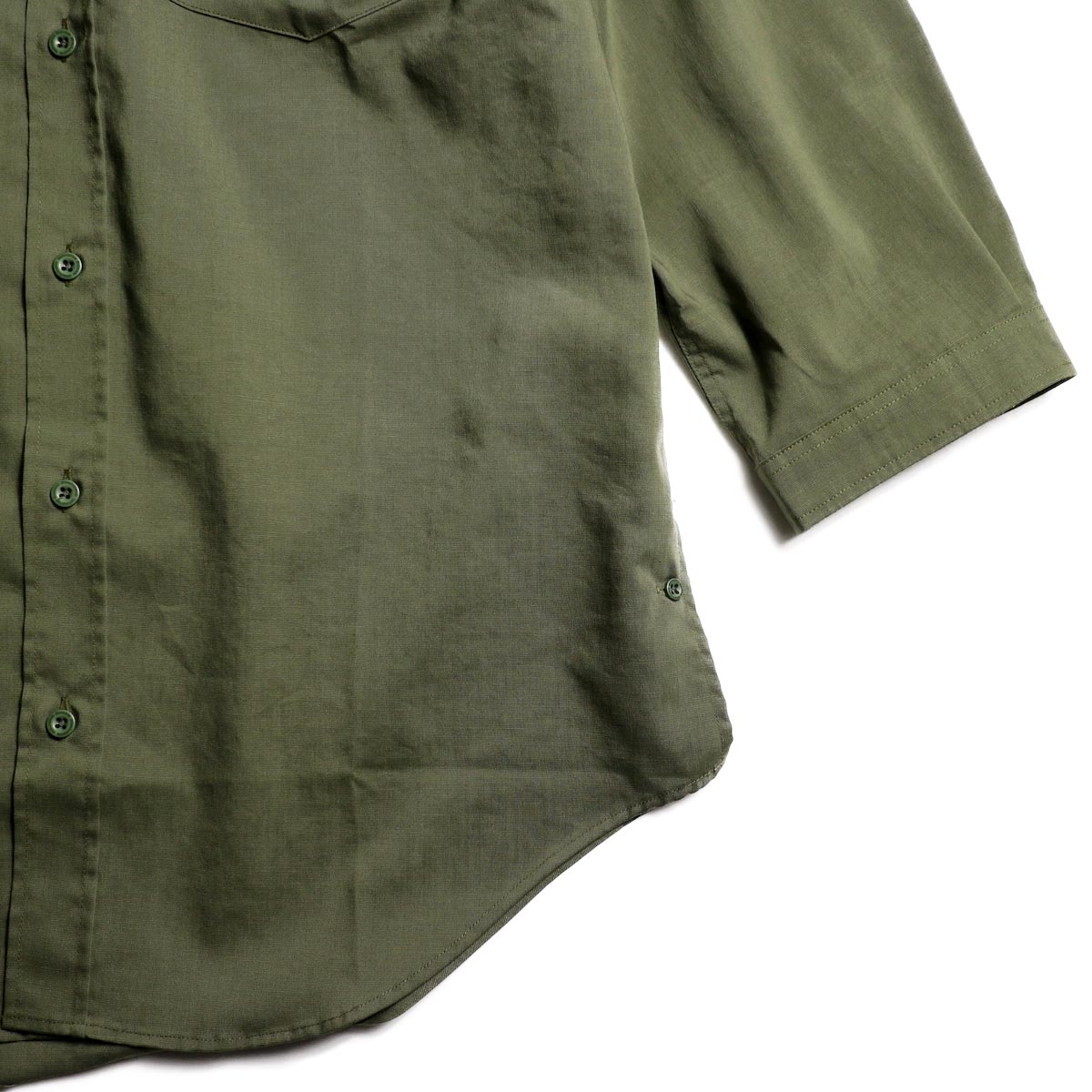 nonnative / OFFICER SHIRT Q/S RELAXED FIT P/L WEATHER STRETCH COOLMAX® (Olive)袖、裾
