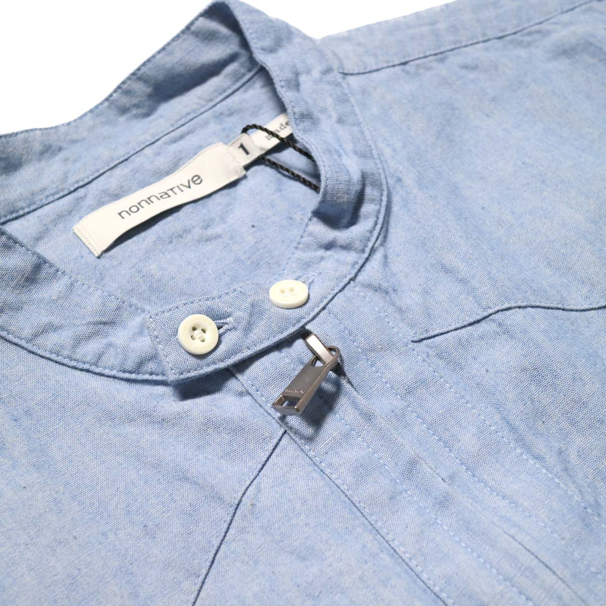 nonnative / RANCHER PULLOVER SHIRT RELAXED FIT COTTON 5oz CHAMBRAY (Sax)襟