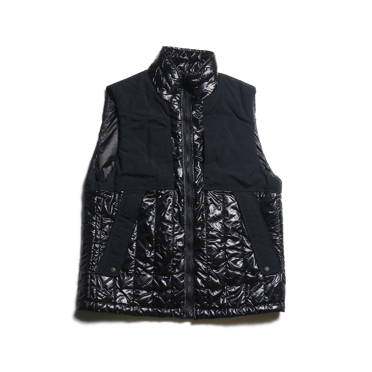nonnative / ALPINIST PUFF VEST NYLON DICROS DNA LIGHT (Black)
