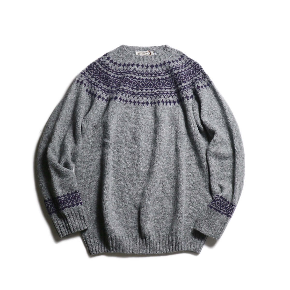 NOR'EASTERLY / L/S WIDE NECK 2TONE NORDIC (Med Grey×Blueberry)