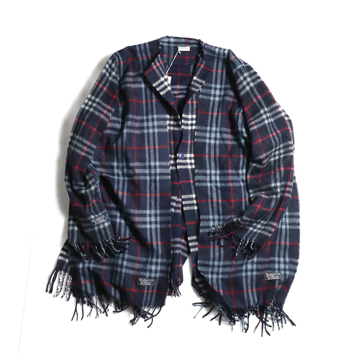 OLD PARK / Scarf Cardigan Burberry (Navy) 正面