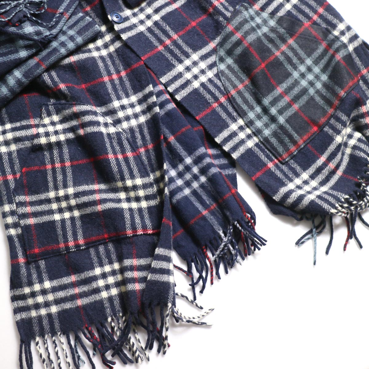 OLD PARK / Scarf Cardigan Burberry (Navy) 正面ポケット