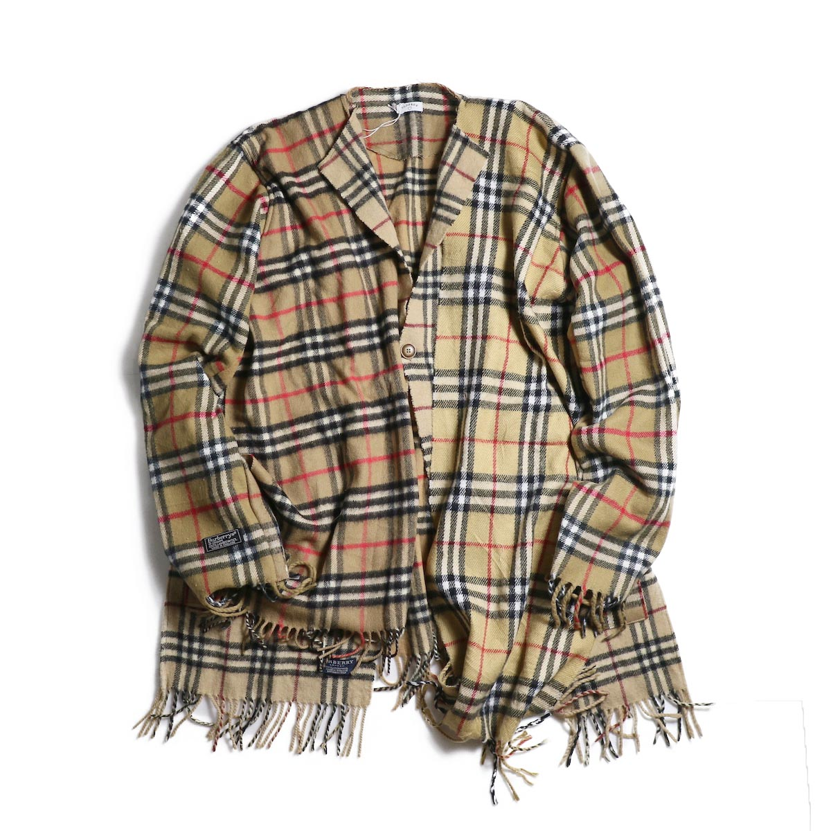 OLD PARK / Scarf Cardigan Burberry (Beige)正面
