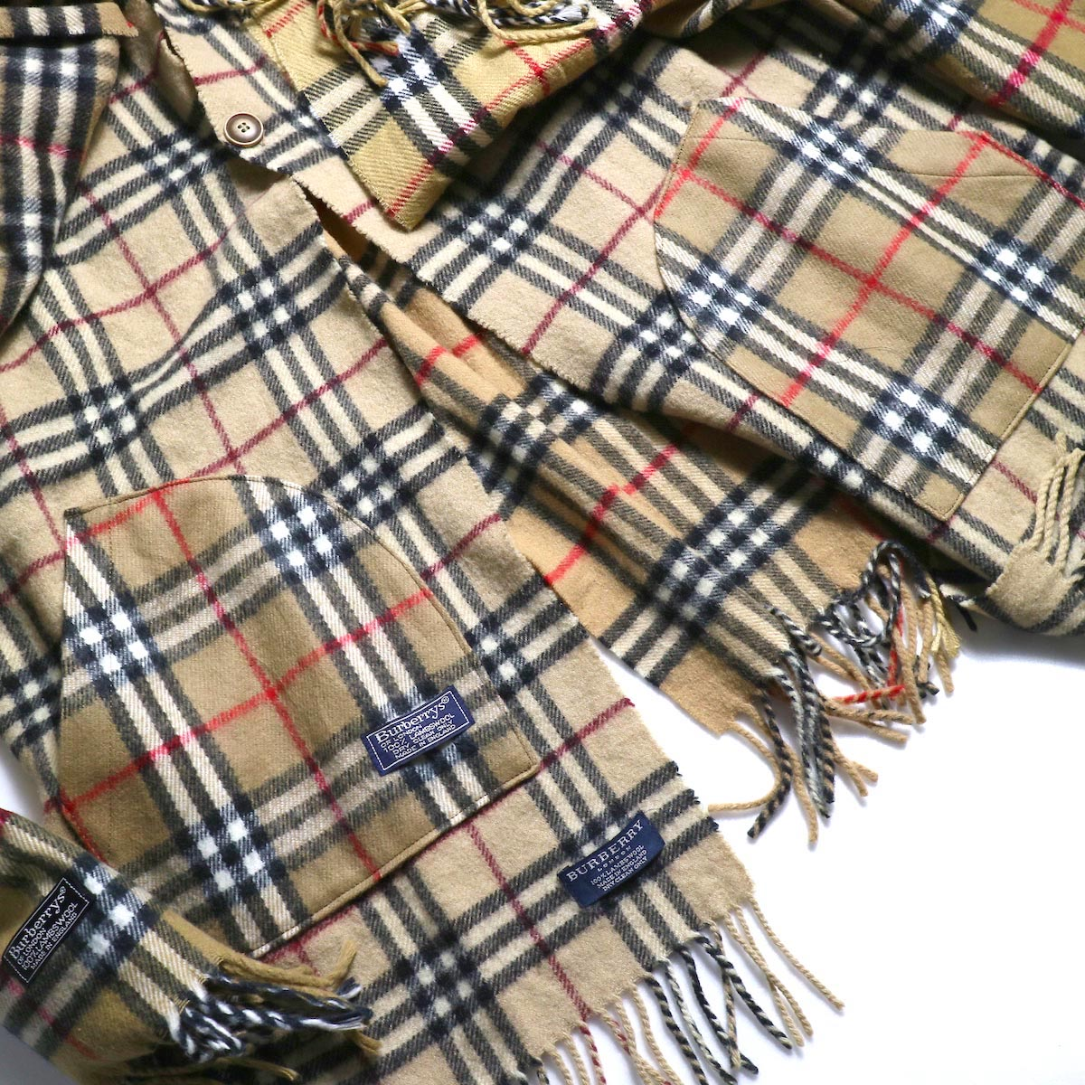 OLD PARK / Scarf Cardigan Burberry (Beige)ポケット