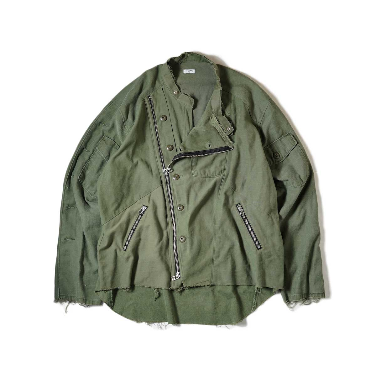 OLD PARK / Oversized Riders Shirt -Miltary