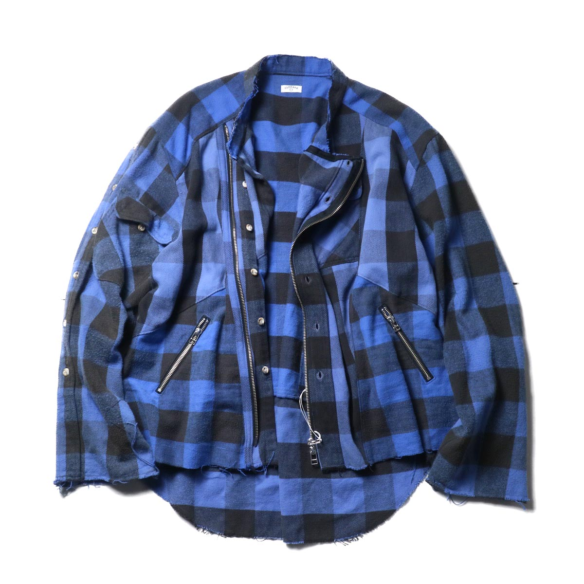 OLD PARK / Oversized Riders Shirt - H-Flannel (Blue)