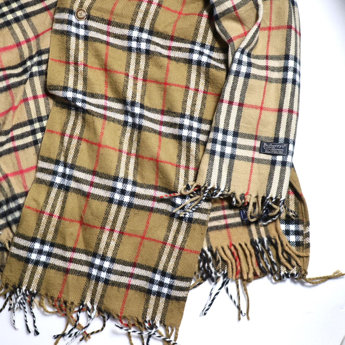 OLD PARK / Scarf Cardigan Burberry (Navy) 右裾