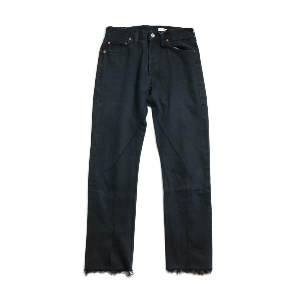 OLD PARK / Slit Jeans -Black Ssize (D)