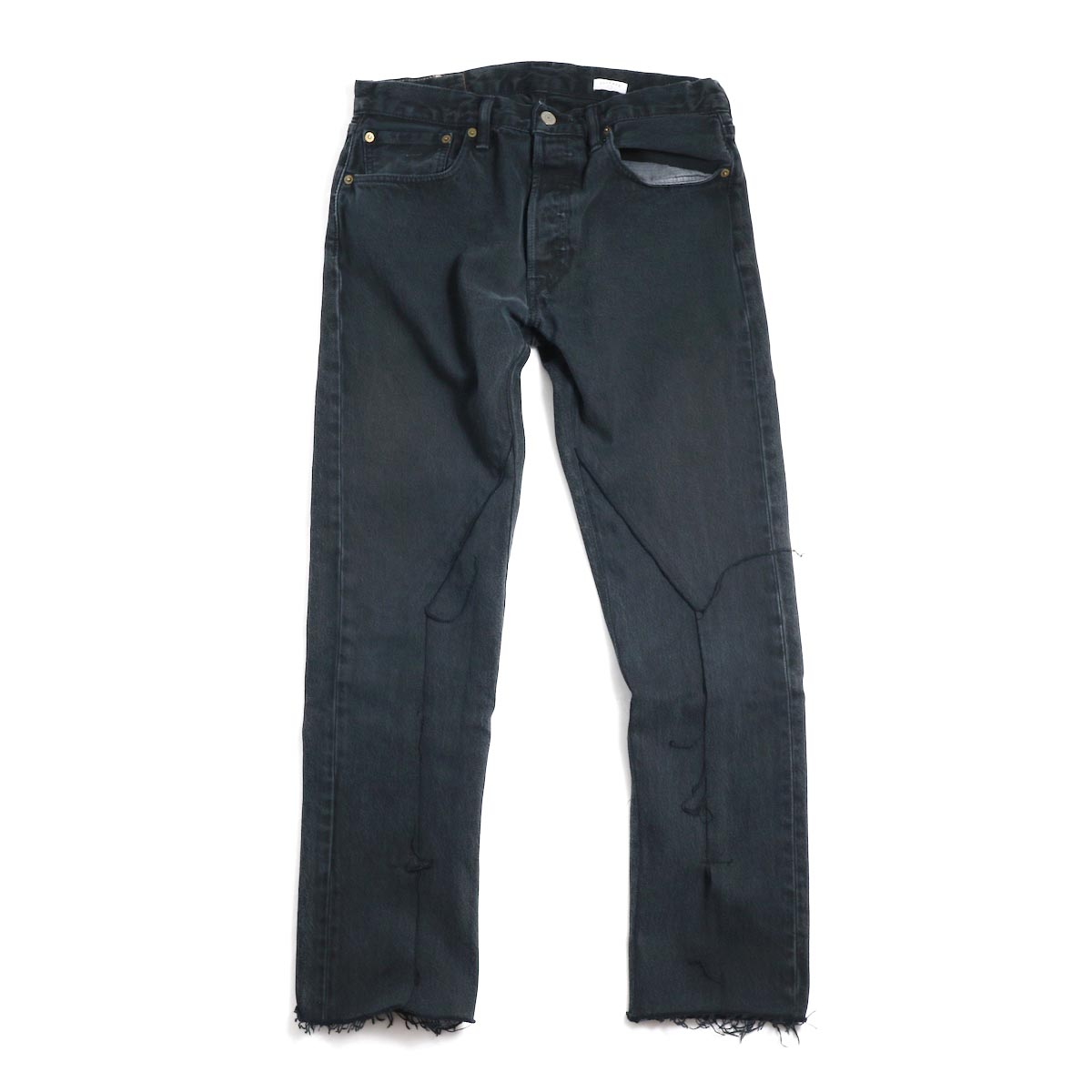 OLD PARK / Slit Jeans -Black Msize(B)