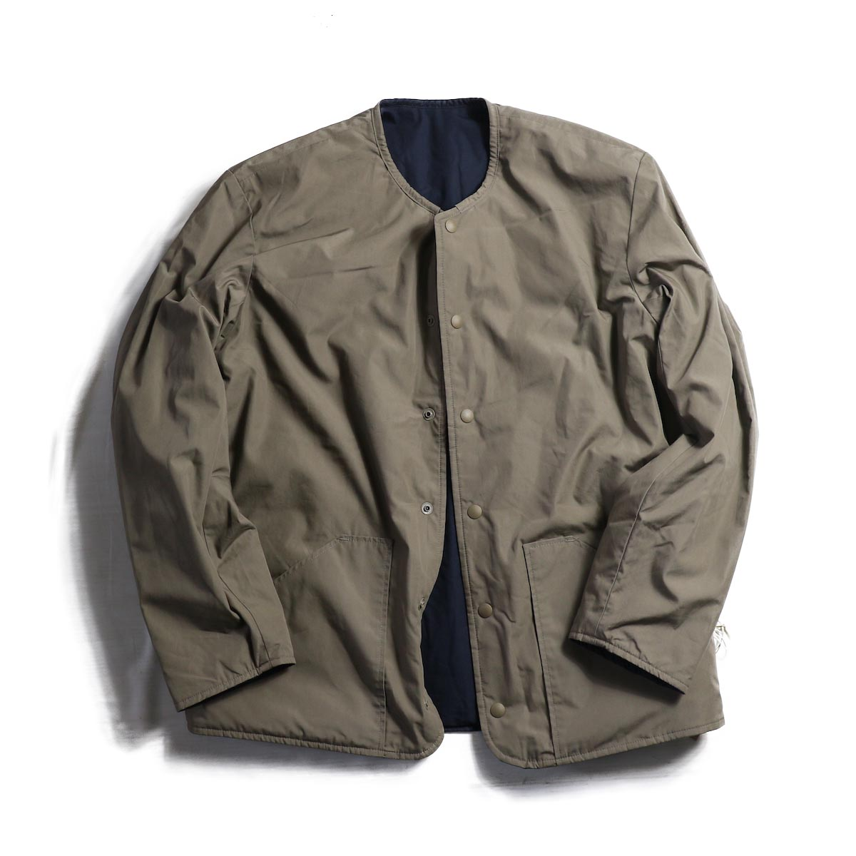 orSlow / Cotton Shell Jacket -Greige×Navy