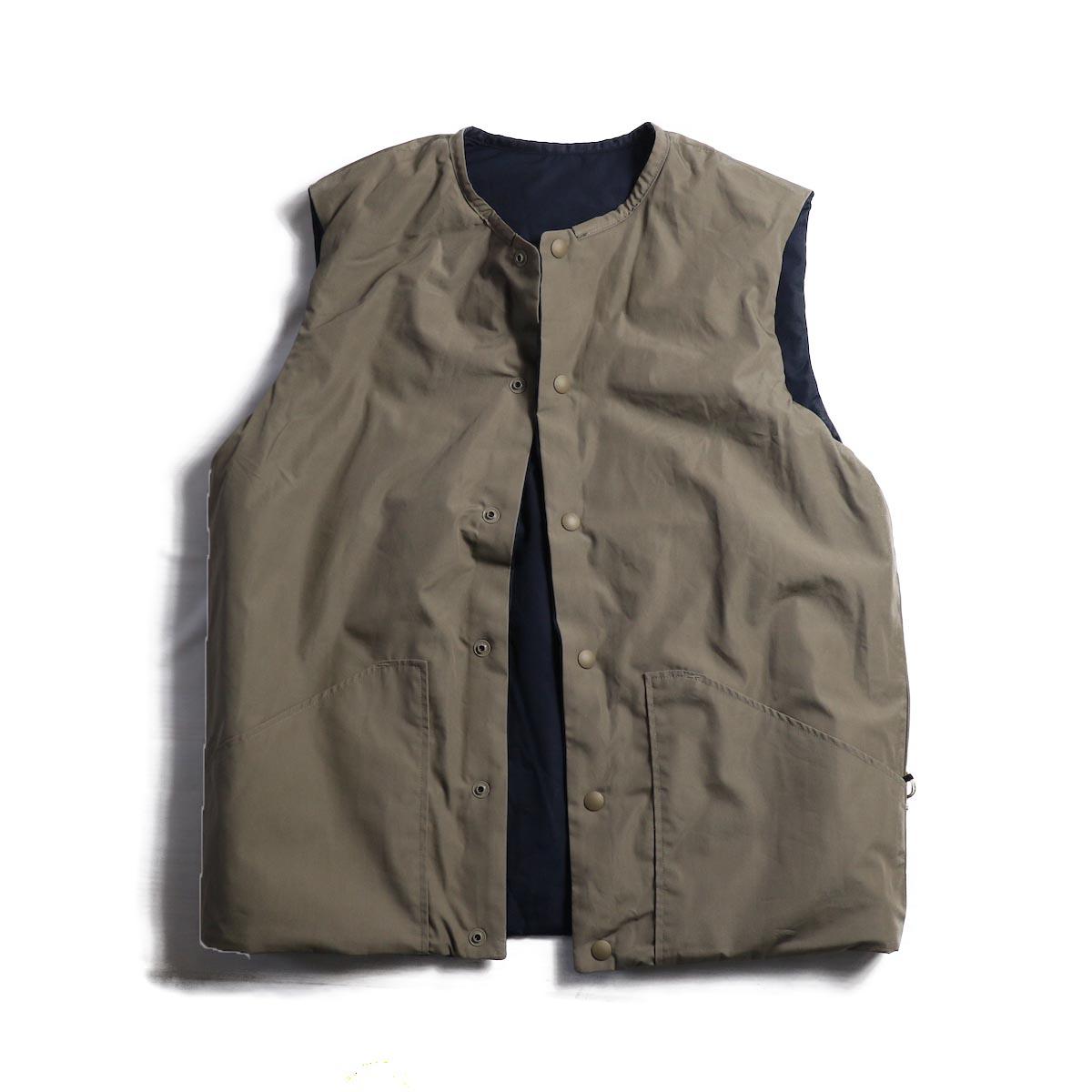 orSlow / Cotton Shell Vest -Greige×Navy